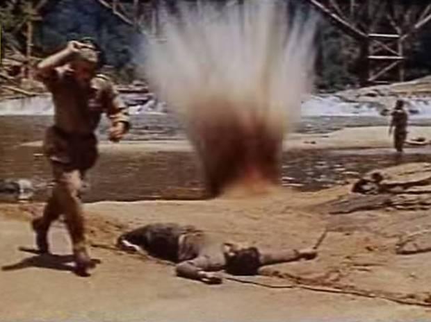 mortar shell explodes