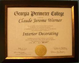 Claude Werner Interior Design certificate