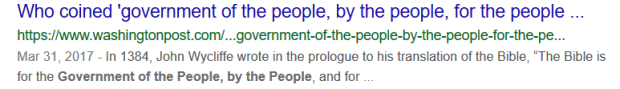 government of the people by the people for the people WaPo