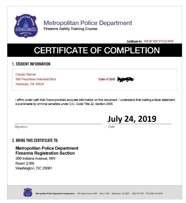 MPD Firearms Safety Course completion CW redacted